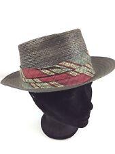 Vintage Men's PORTIS Pork Pie Hat Gray w Red band Leather Genuine Milan Hipster