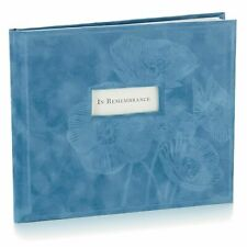"""Hallmark """"In Remembrance"""" Guest Book, Blue Suede"""