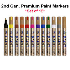 Set of 12 Paint Marker Pen Waterproof Oil Markers Pens Car Tyre Tire Tyres Metal