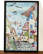 Antique Vintage Embroidery Seaside Village Beautifully Handmade Framed Folk Art