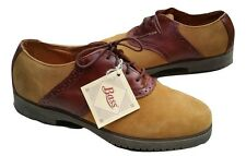 NEW VINTAGE BASS TAN NUBUCK AND BROWN LEATHER LACE-UP SADDLE SHOES OXFORDS 8.5 M
