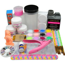 Starter Nail Art Acrylic Powder Liquid 120ml Glue Tool Tips Practice Salon Kit S