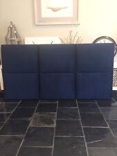 FUN BEDHEADS Queen Size Plush Indigo Velvet Panel Upholstered Bedhead