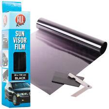 Black Sun Visor Tint Film Strip 20 X 150cm Kit Car Van Bus Winscreen Uv Shade