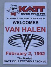 Vintage 1992 Van Halen Concert Radio Station Promo Collectors Patch Katt 100.5