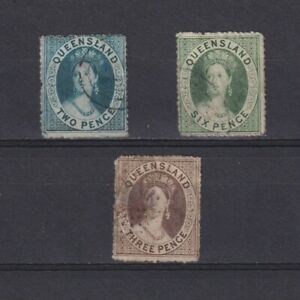 QUEENSLAND AUSTRALIA, Queen Victoria, Wmk Small Star, rough perforation, Used
