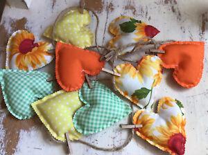 Shabby Chic Heart Bunting Sunflower Gingham Spot Handmade