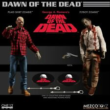"""One: 12 Collective Dawn of the Dead FLYBOY & PLAID SHIRT ZOMBIE 6"""" Figures Mezco"""