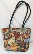 Blair Tapestry Cats and Kittens Purse Braided Handle Shoulder Bag