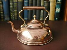 Early 20th c / Edwardian Tin Lined Copper Kettle / Dome Shaped Swan Neck Spout