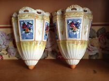 2 large Maruhon hand painted Japan vintage wall pockets