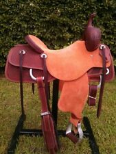 """Western Natural Rough Out Leather Roper Ranch Hand Tooled and Carved 15"""" Saddle"""