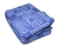 Handmade Indigo Kantha Quilt 100%Cotton Indian Bedspread Throw Blanket King Bed