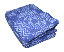 Handmade Indigo Kantha Quilt 100%Cotton Indian Bedspread Throw Blanket King Bed