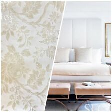 SWATCH Burnout Chenille Velvet Fabric- Pearl White On Ivory Damask Upholstery