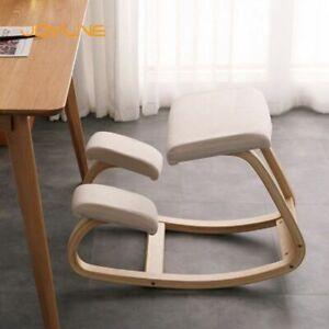Stool Wooden Chair Kneeling Rocking Computer Posture Furniture Office Ergonomic