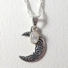 Crescent Moon Collier Avec Sterling Silver Moonstone Charme. Pagan, Wiccan