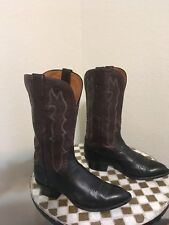 BROWN BLACK LUCCHESE WESTERN COWBOY BOOTS 8 B