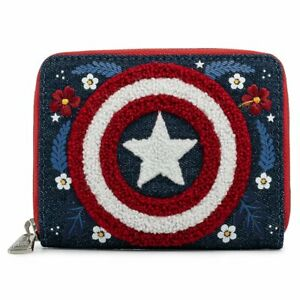 NEW! Loungefly Marvel Captain America 80th Anniversary Floral Shield Zip Around