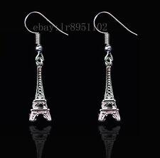 Silver Tone Metal Eiffel Tower Drop Earrings New hot 3D Stereo 1 Paris Fashion