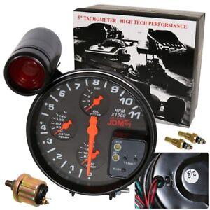 "Universal 5"" 4 In1 11K Led Tachometer Oil+Water Temp+Oil Pressure Gauges Black"