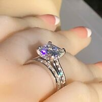 Wedding ring set, princess cut simulated diamond engagement ring 925 silver ring