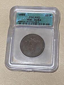 1895 FINLAND 🇫🇮 10 PENNIA RUSSIA-N Copper Coin Nicholas II ICG AU 53 -* RARE!