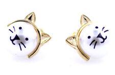 Super cute gold tone white pearl cat stud earrings