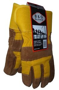 MEN'S B&G HEAVY WORK INSULATED FLEECE PILE LINED LEATHER WINTER GLOVES XL