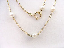 CULTURED PEARLS 4.20 mm. 18K YELLOW GOLD CHAIN NECKLACE VINTAGE 16.4 inch