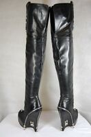 FELIX BARCK SKYHIGH HEEL ITALY BLACK LEATHER OVER THE KNEE BOOTS EU 37 US 7