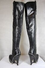 FELIX BARCK HAND MADE IN ITALY BLACK LEATHER OVER THE KNEE BOOTS EU 37 US 7