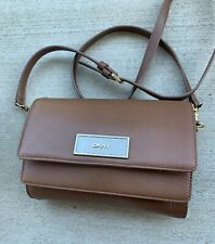 DKNY Pebbled Luggage Brown Leather Crossbody Bag Double Flip Purse Clutch $198