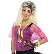 Ladies 80s 80's 1980s Fancy Dress Mesh Top Fishnet Net Pink T Shirt by Smiffys