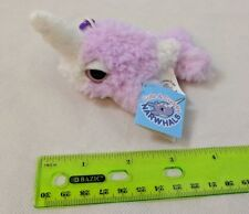 "Applause Narwhal Mini Plush Keychain 3"" Shaggy Pastel Purple Very Soft! NWT"