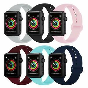 For Apple Watch Series 6/5/4/3/2/1 38/40/42/44mm Soft Silicone Sports Band Strap