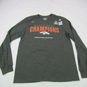 Denver Broncos Nike T Shirt Long Sleeve Adult Large Gray New Super Bowl 50
