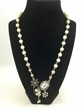 """Beaded Rhinestone Charms Necklace Pendant American Eagle 21""""  Flowers Pearls"""