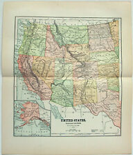 Original 1891 Map of The Western United States by Hunt & Eaton. Antique