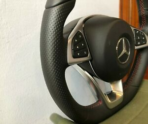 NEW GENUINE MERCEDES BENZ AMG COMPLETE STEERING WHEEL WHITH AIRBAG