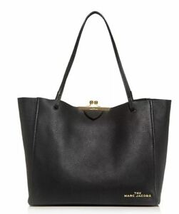 Marc Jacobs The Kiss Lock LARGE Leather Tote M0016155 Black W Dust Bag ~NWT