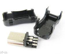 1set Mini 5pin USB Male Plug Socket Connector With Plastic Cover for DIY