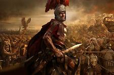 A4 Poster-soldato romano in una battaglia epica (foto STAMPA vintage ROMA ART)