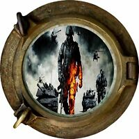 Huge 3D Porthole Army Troops & Tanks View Wall Stickers Film Decal Wallpaper 343