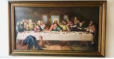 Vintage Gold Framed Jesus Picture Last Supper 9×17 Religious Catholic