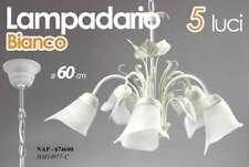 LAMPADARIO SALOTTO 5 LUCI VETRO D60 CM METALLO BIANCO SOFFITTO FOGLIE NAP 674600
