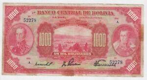 Bolivia 1000 bolivianos 1928 banknote Pk127 scarce