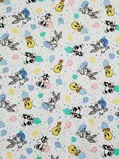 Vintage 2000 Looney Toons Baby Blanket Sylvester Tweety Bugs Bunny & Balloons