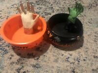 VTG Gemmy Halloween Candy Bowl, Animated Talks, sensor Witch Hand Moves Prop Lot