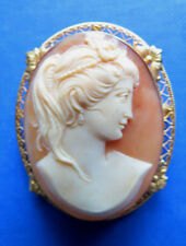 ANTIQUE CARVED CAMEO of WOMAN 14K GOLD - BEAUTIFUL